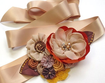 Bridal Sash - Burnt Orange, Brown and Gold Belt for Fall Autumn Wedding, Bridesmaid, Formal occasion or an Event
