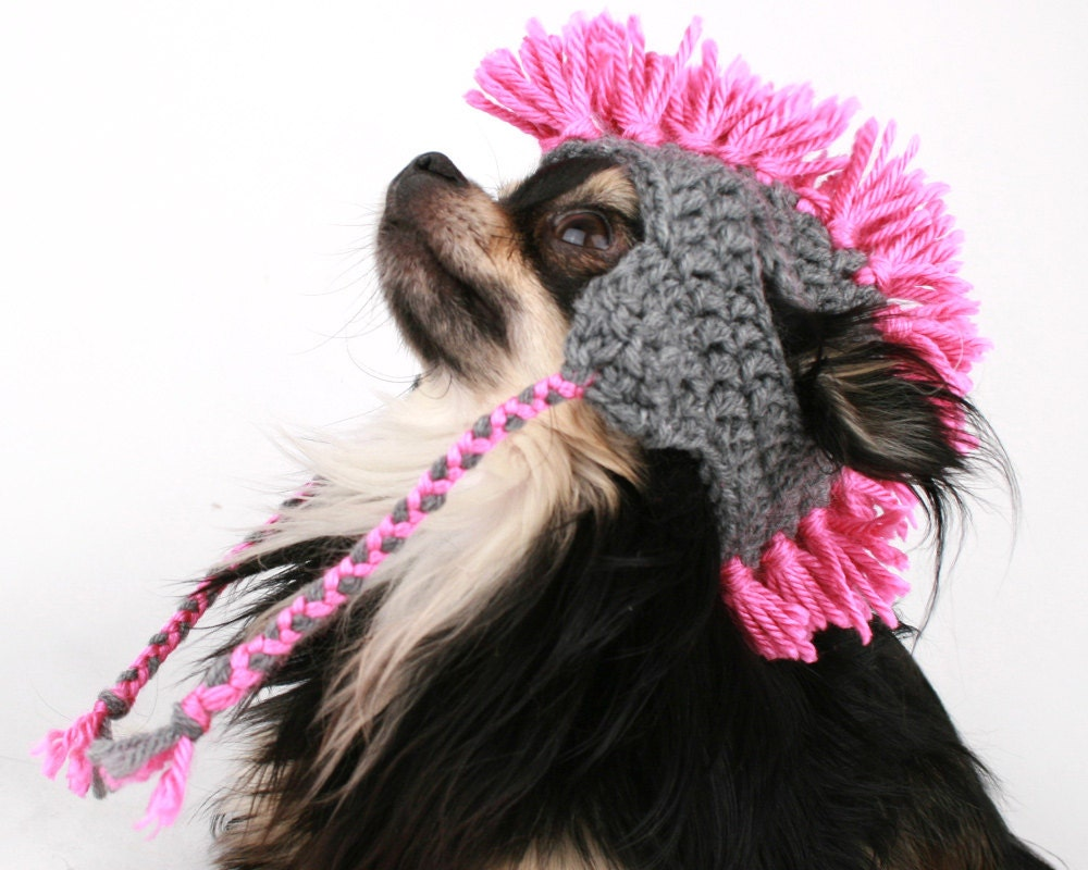 Crochet Pattern For Dog Hat With Ear Holes : Dog Hat Mohawk crochet touque with ear flaps hat for dogs
