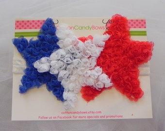 Red, White and Blue  Shabby Chic  Star Headband, Patrotic, USA, Baby, Toddlers, Girls Hair Accessories, 4th of July, Memorial Day