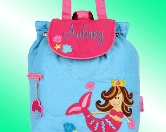 Quilted Backpack - Personalized and Embroidered - MERMAID