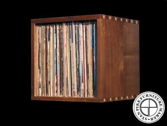 deluxe record album storage cube box by stanpike on etsy. Black Bedroom Furniture Sets. Home Design Ideas