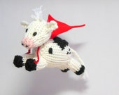 Baby Mobile, Cow mobile, Super Cow Mobile, Modern Nursery, Cow with Cape, Cow Ornament, Black, White, Red, Farm Mobile