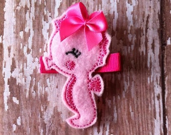 Adorable Pink Felt Seahorse Hair Clip Babies Toddlers Girls