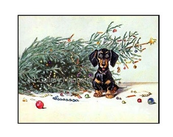 DACHSHUND~Oops CHRISTMAS Tree Fell~1930s~Antique / Vintage~Art Print MAGNET Sausage Dog Teckel Dackel Weiner gift card