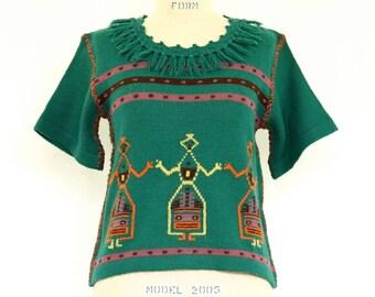 70s Hippie Sweater Bobbie Brooks Native American Folk Art hand embroidered fringed stripe teal green & plum purple knit boho pullover shirt