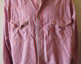 Vtg WESTERN Shirt by YES MEN Pearl Snaps 80s Stripes -Men's Large