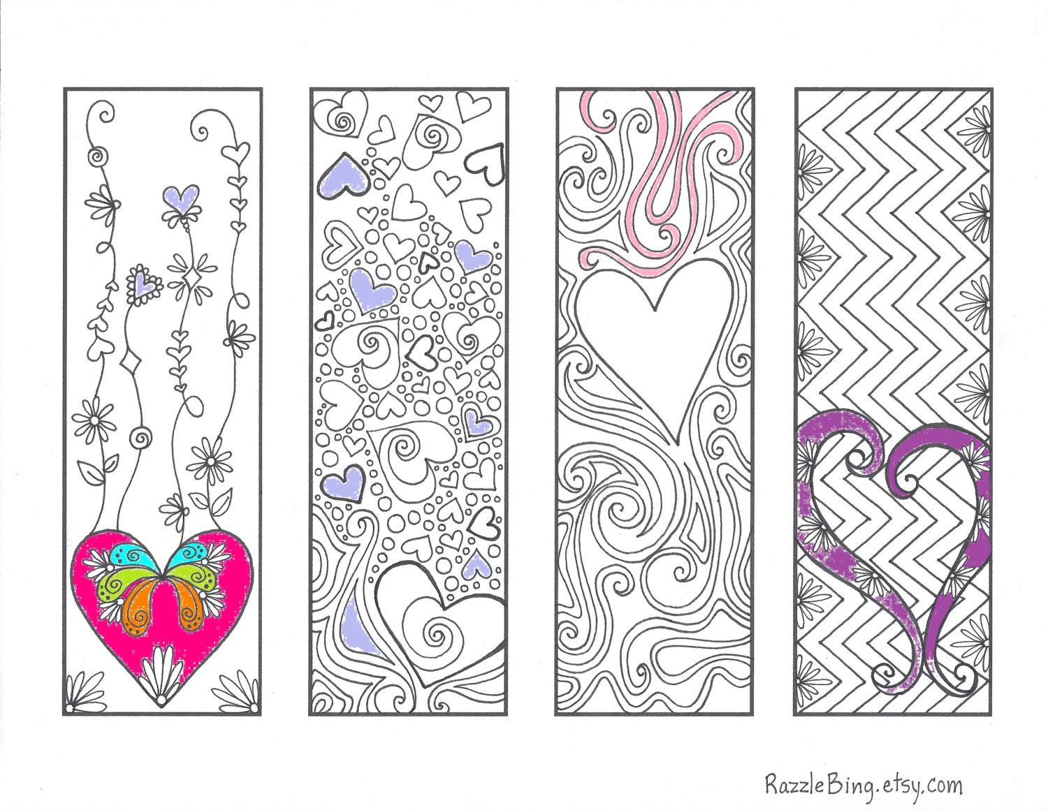 valentine bookmarks to color : Coloring Bookmark Diy Bookmark Printable Coloring Page Zentangle Inspired Valentines Day Love Of Hearts Zendoodle