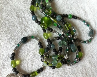 Green and black three-strand necklace with jasper beads
