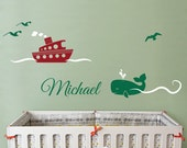 Ferry, Whale and Personalized Name - Nursery Wall Decal Sticker