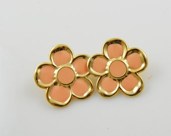 Vintage Peach and Gold Tone Flower Earrings