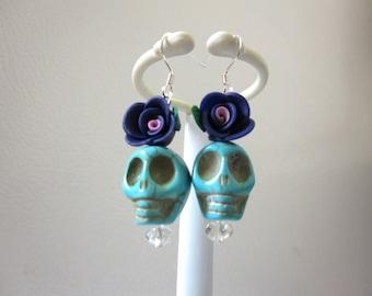 Day Of The Dead Earrings Sugar Skull Dangle Blue Purple Rose Flower
