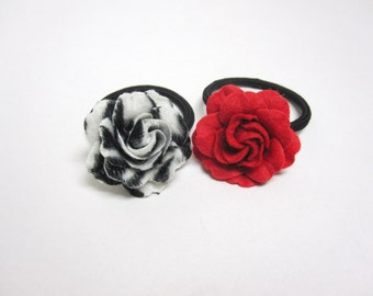 Day Of The Dead Hair Holder Ponytail Red Black White Rose