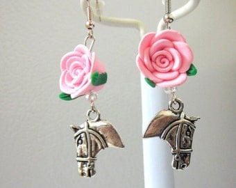 Horse Pink Rose Earrings Western Silver Cowgirl Bling Jewelry