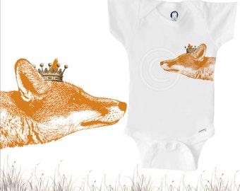 Organic fox onesie with crown, unique gender-neutral baby clothes, red fox