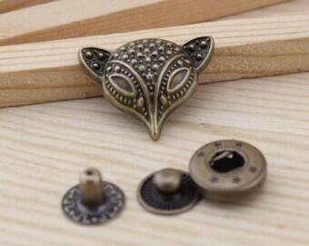 10sets antique bronze fox Snap button S46 (requries 633 tool)