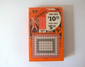 Vintage Punchboard Game, Tommy the Great, Strongman Lottery Game, Fab Graphics