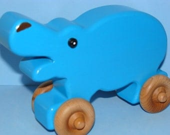 Wooden Hippo on the Go - BLUE