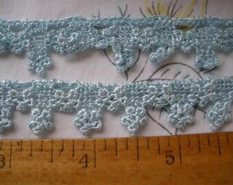 "Ice Mint Blue Venise Flower Lace Trim 3/4"" wide scrapbook craft embellish wedding bridal floral 19MM"