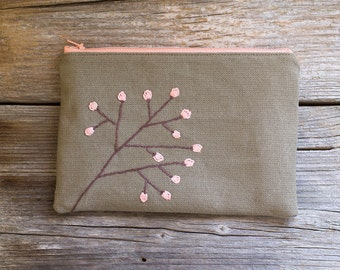 Nature Inspired Hand embroidered Zipper Pouch in Khaki and Peach Pink, Pure Cotton Cosmetic Bag, Bohemian Accessories