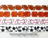 Grosgrain Sports Ribbon ~ All Sports Ribbon~ 1 Yard Each ~Grosgrain~ Football, Basketball, Baseball and Soccer ~ 7/8 inch wide ~ Made in USA
