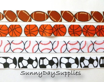 SPORTS Grosgrain Sports Ribbon, All Sports Ribbon, 1 YARD, Grosgrain, Football, Basketball, Baseball and Soccer, 7/8 inch wide, Made in USA