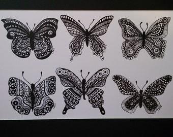 6 Butterflies Art Print