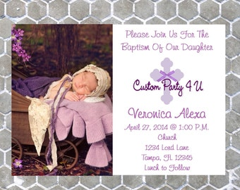 Baptism  Photo Invitations- You Choose Colors!