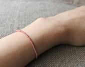 pink gem very small bead bracelet for women - womens pink bracelet with gem - MariaHelenaDesign
