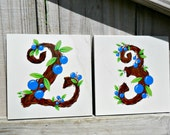 House Numbers- hand painted address tiles TWIGS with Berries
