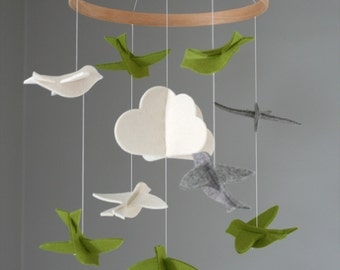 100% Merino Wool Felt Baby Mobile - Eco-Friendly - Rich, Lightfast Colors - Heirloom Quality - Green, Gray and White Birds