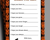 Halloween Baby Shower Wishes Printable - Instant Download - Vintage Stroller Collection