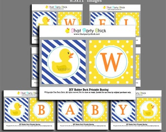 """50% OFF SALE - Rubber Duck Baby Shower Banner Printable - """"Welcome Baby"""" Banner - Rubber Duck Dreams Collection"""