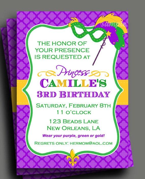 Mardi gras princess invitation printable or printed with free il570xn stopboris Gallery