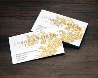 Custom Letterpress Business Card and Graphic Design Package w/ edge printing - 2-color - 100qty