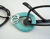 Aqua Blue, Black Leather Cord, Eyeglass Lanyard, Sterling Silver, Accent, Eyeglass Necklace, Eyeglass Ring, by Eyewearglamour