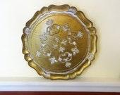 Medieval Medallion Centerpiece Golden Florentine Vintage Tray, Italy Import