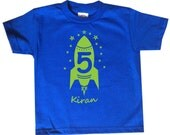 Rocket Birthday personalized tshirt - Kids Outer Space Theme Shirt - You pick the colors!