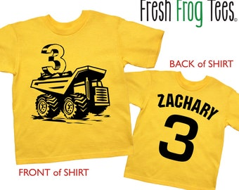 Dump Truck Shirt Personalized  Birthday Shirt - any age and name - pick your colors