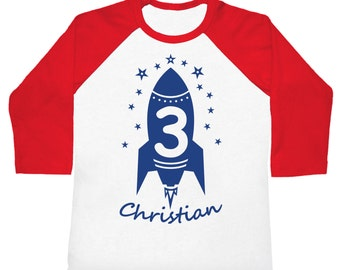 Rocket Birthday personalized raglan - Kids Outer Space Theme Shirt - You pick the colors!