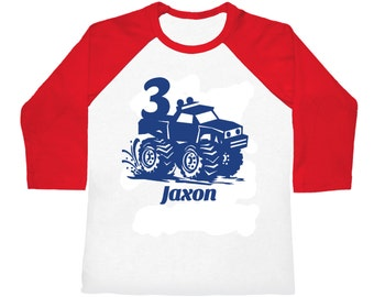 Personalized Monster Truck Birthday Shirt - 3/4 sleeves raglan shirt - pick your colors!