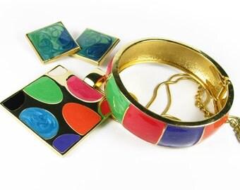 Vintage Mod Necklace, Bracelet and Earrings Set, Multi Color / Twiggy Necklace, Bracelet and Earrings Set, Mod Wedding - Collier Moderne.