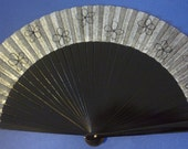 MADE TO ORDER Black and Silver Wooden Hand Fan with Black Flowers