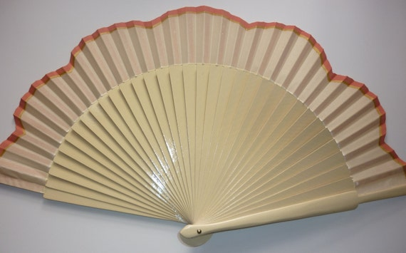 MTO Hand Fan Scalloped Edge with Coral and Gold Detail by Kate Dengra Spain