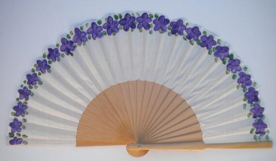 MTO Hand Fan Tiny Scattered Purple Flowers Natural Wood Fan by Kate Dengra Spain