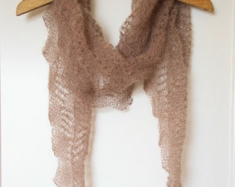 Brown mohair scarf or shawl. Lace knitting. Handmade