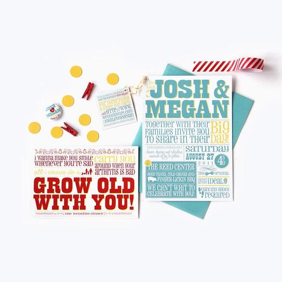 Poster Wedding Invitation & RSVP • DIY Digital File or Printed Cards • Vintage Poster Rustic Playbill