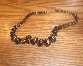 vintage necklace black gold lucite