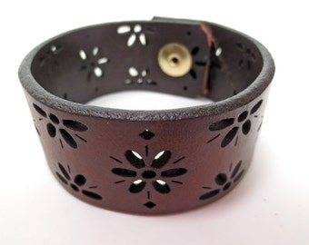 Brown Leather Cuff with Cutouts in Shape of Daisies, Upcycled from Belt