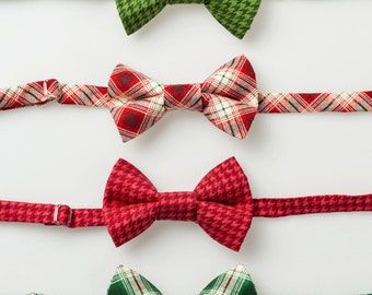 Little Boy Christmas Bowties - Green Plaid, Red or Green Houndstooth - Boys Bow Ties