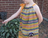 Halloween Pillowcase Dress, Girly Spider Dress, Purple, Orange, Yellow, Green and Black Chevron, Fall Dress, Size 2T to 14
